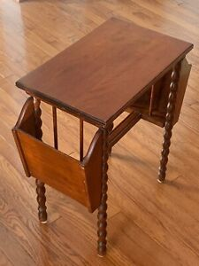 Antique VTG American Solid Wood Side Table Book/magazine ...