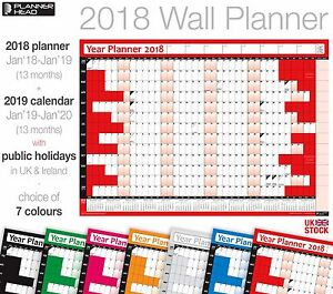 Image is loading 2018-Yearly-Planner-Calendar-Wall-Chart-Planner-with-
