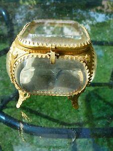 Antique bevelled glass Ormolu brass jewellery/trinket casket box Victorian c1900