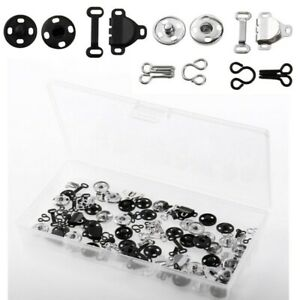 50 Pairs Snap Buttons Skirt Hooks Eyes Fasteners Closures Trousers Sewing DIY