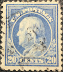 Scott-515-US-1917-20-Cent-Franklin-Postage-Stamp-Perf-11-Nice-Margins