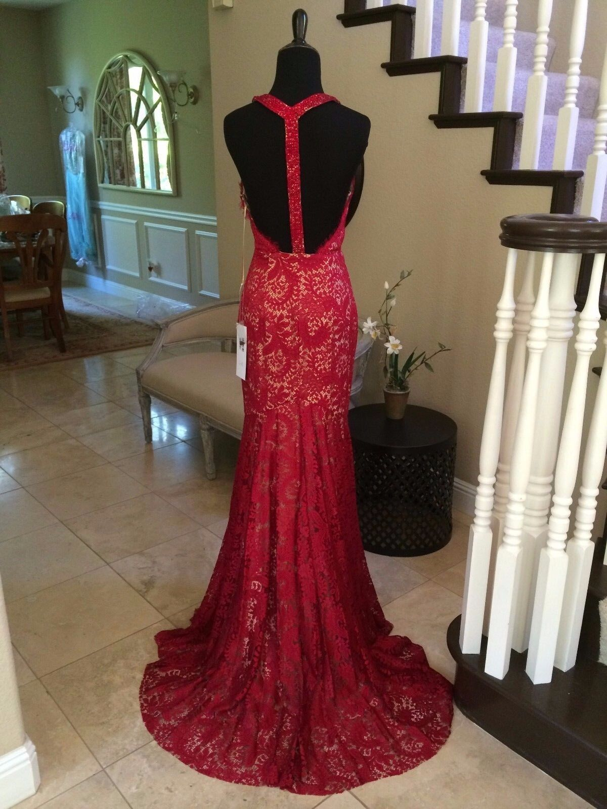1c7fb603df2 830 NWT RUBY TRUMPET LACE JOVANI PROM PAGEANT FORMAL DRESS GOWN SIZE 6