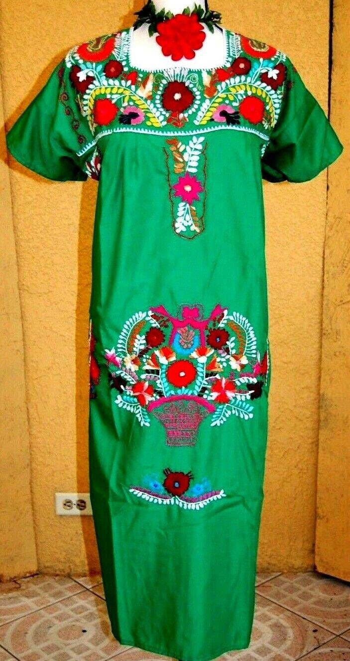 Mexican Grün Dress Fiesta 5 de Mayo Hand Floral Embroidery Puebla Boho 2XL NWT