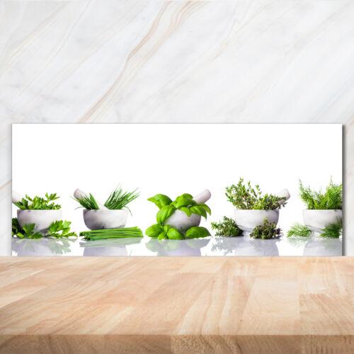 Küchenrückwand Spritzschutz aus Glas 125x50 Deko Blumen /& Pflanzen Kräuter