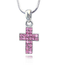 Christian Catholic  Small Pink Cross Pendant Necklace Girl Jewelry n2068p