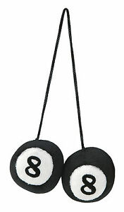 Sumex Black & White Fluffy Furry Car & Home Hanging Mirror 8-Ball Decorative #20 Interieur