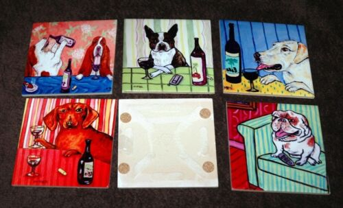 CHINESE CRESTED at a wine bar dog art tile coaster