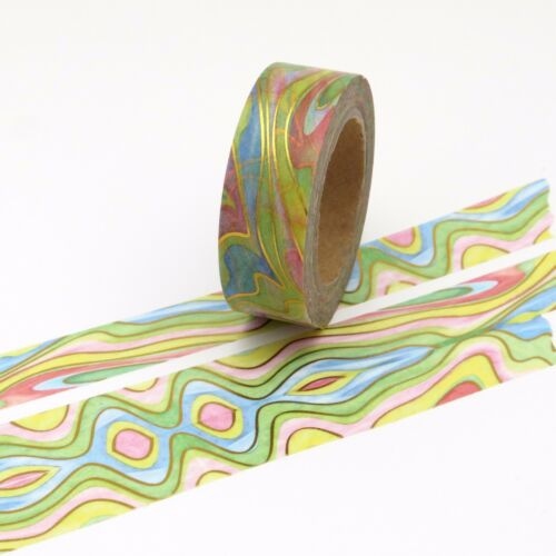 Water Colour Washi Tape Painted Rainbow Wave Multi-Coloured 15mm x 10m