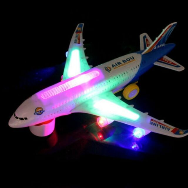 1x Baby Electric Toys With Light Led Music Airplane  Bump And Go Toy