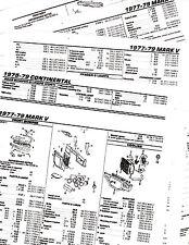 1977 1978 1979 LINCOLN MARK V 77 78 79 BODY PARTS LIST NUMBERS CRASH SHEETS M2BK
