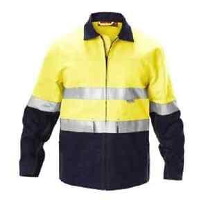 Hard-Yakka-Hi-Vis-Yellow-Navy-Cotton-Drill-Jacket-with-3M-Reflective-Tape-3XL