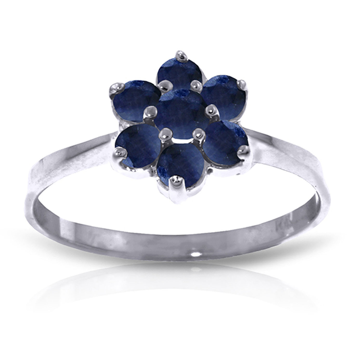 Brand New 0.66 Carat 14K Solid White gold Ring Natural Sapphire