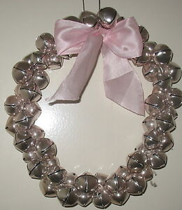 """CHRISTMAS SILVER JINGLE-BELL WREATH with Light Pink Bow 11"""" Diameter   eBay"""