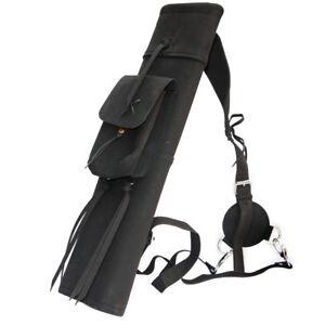 Black//Yellow Arrow Quiver Bag Back Shoulder Waist Archery Pure Leather 52X13cm