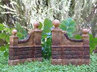 Miniature Dollhouse Fairy Garden Furniture Resin Aged Wall Set Of 2
