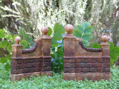 Miniature Dollhouse FAIRY GARDEN Furniture ~ Resin Aged Wall Set of 2 ~ NEW