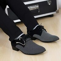 Trendy Mens Pointy Toe Dress Lace up Flat Formal Office Casual Wedding Shoes New