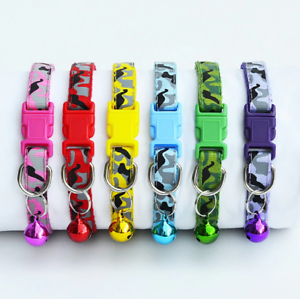 Adjustable-Kitten-Collar-Camouflage-Bell-Camo-Cat-Pet-Puppy-Snap-Buckle-UK