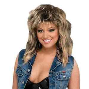 Women/'s Tina Turner Rock Diva Fancy Dress Wig Two Tone Ginger Black Long Mullet