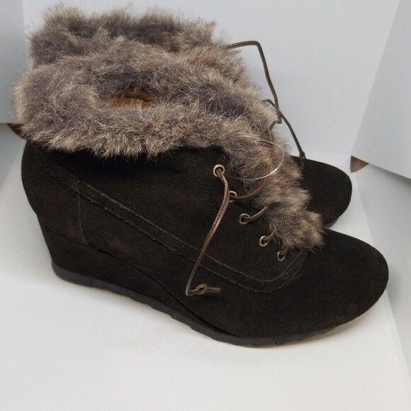 Earthies Seriph bspringaaa mocka mocka mocka Fur trim Winter Wedge stövlar 7.5 B  snabb leverans och fri frakt på alla beställningar