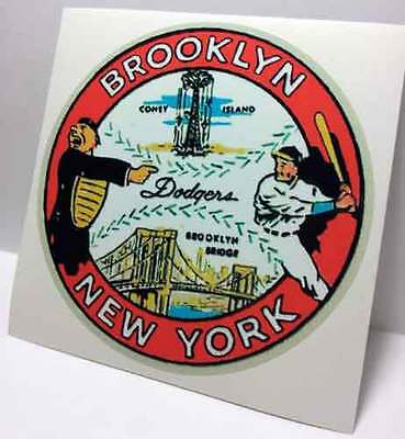 Brooklyn Dodgers Vintage Style Travel Decal / Vinyl Sticker, Luggage Label