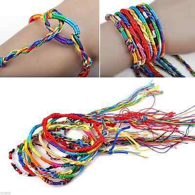 10/50Pcs Wholesale Jewelry Lot Braid Strands Friendship Cords Handmade Bracelets