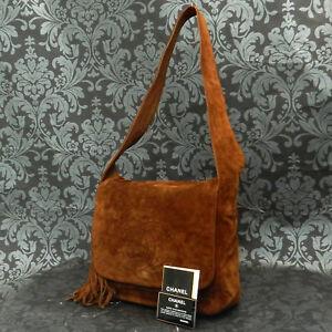 24898680d9b5 Rise-on Vintage CHANEL Suede Leather CC Logos Brown Fringe Shoulder ...