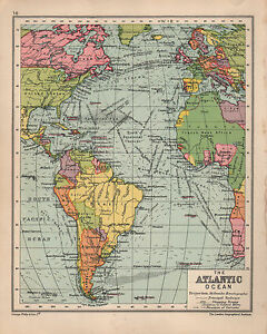Map Of America Ebay.Details About 1934 Map Atlantic Ocean With Shippping Routes Ocean Currents South America
