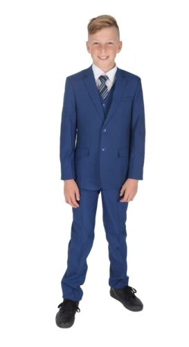 Cinda Blue Checked Suit 5 Piece Wedding Suit Prom Page Boy Suit Formal 2-12 Year
