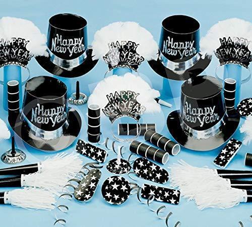 Noir et Blanc New Years Eve Party Accessoires Kit fêtes fournitures pour 50 personnes