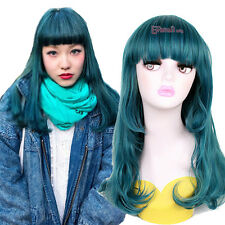 USA Ship Lolita Harajuku Dark Green Long Curly Wave Hair Synthetic Cosplay Wigs