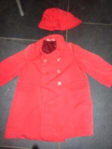 Sensible Vintage Chilprufe Manteau & Chapeau Double Breasted Mac Essuyé Rouge Âge 3-4 Prop-afficher Le Titre D'origine