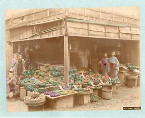 Japon-Shop-of-vegetables-Vintage-albumen-print-Tirage-albumine-aquarelle