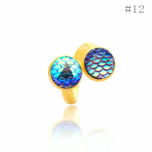 Brass Plated Gold//Silver Fishscale Mermaid Fish Dragon Scale Bling Cocktail Ring