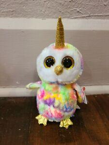 """Ty Beanie Boos 6"""" Unicorn Owl Plush"""