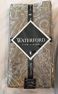 Set of 4 Metallic Jacquard 21x21 Waterford Linens Timber Napkins  Gold //Silver