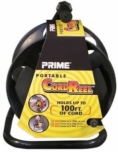 Brand New Prime Portable Cord Jack Reel - Black Metal Stand- Holds 100' Cable