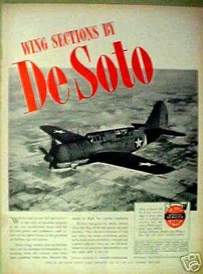 1944 WWII DeSoto AircraftAirplane Military Bombers Vintage War Trade AD