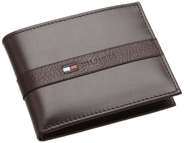 NEW TOMMY HILFIGER MEN'S LEATHER CREDIT CARD WALLET BILLFOLD BROWN 5673-02