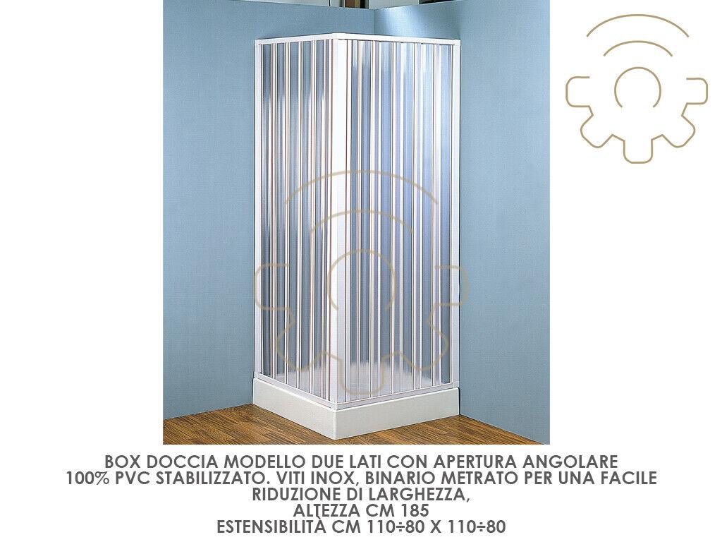 Box cabina doccia a soffietto in PVC cm 110÷80 x 110÷80 altezza 185 cm apertura