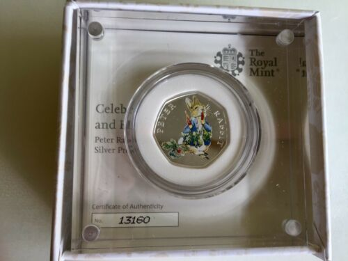 Peter Rabbit 2018 50p Silver Proof Colour Coin In Hand