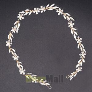 Alloy Leaf Pearl Flower Wedding Hair Accessories Bride Headband Tiaras Handmade