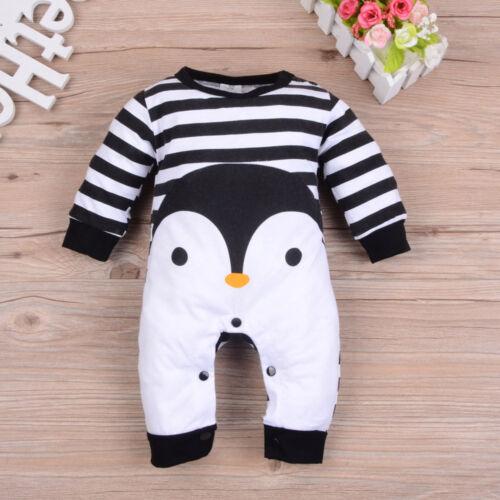 Recién Nacido Bebé Niña Niño manga larga Pingüino Mono Imprimir Mameluco Pijama trajes