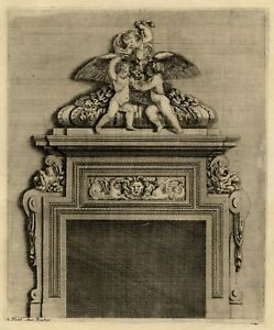 Ornement-Architecture-Cheminee-Jean-Lepautre-Angelot-Louis-XIV-gravure-originale