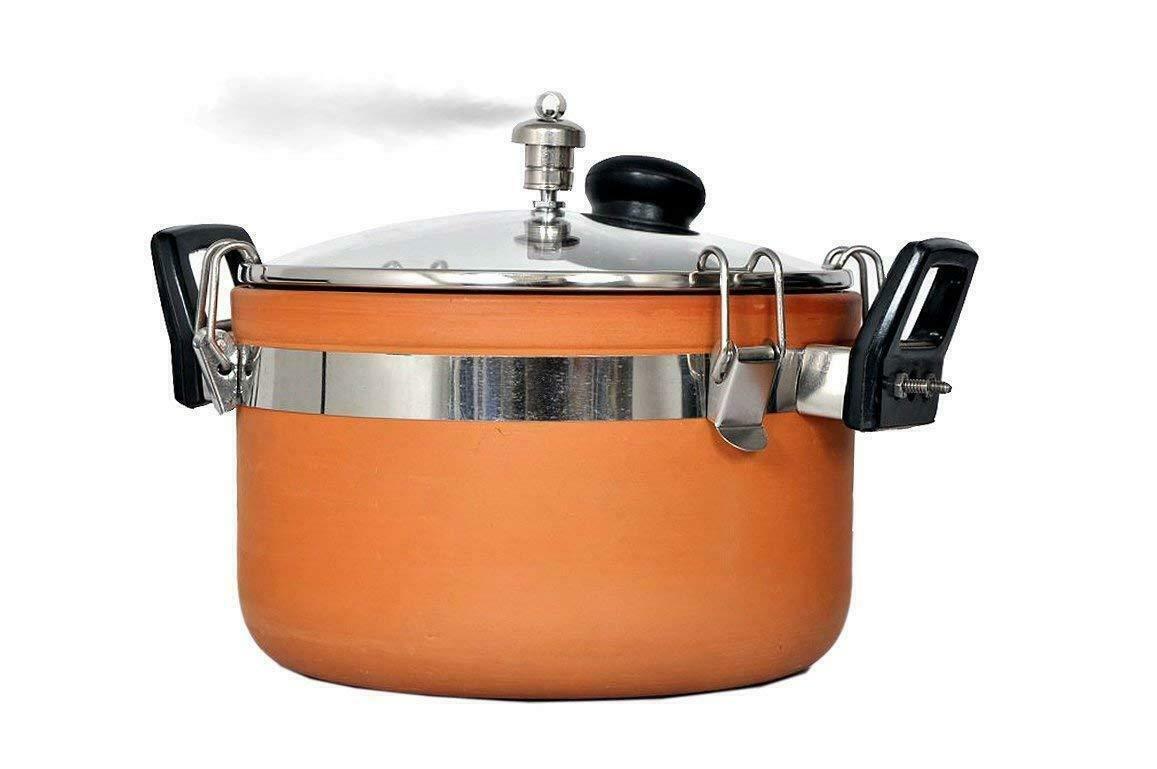 Terracotta Clay Schnellkochtöpfe 3 Liter mit Steamer-Kochtopf Wiederverwendbar
