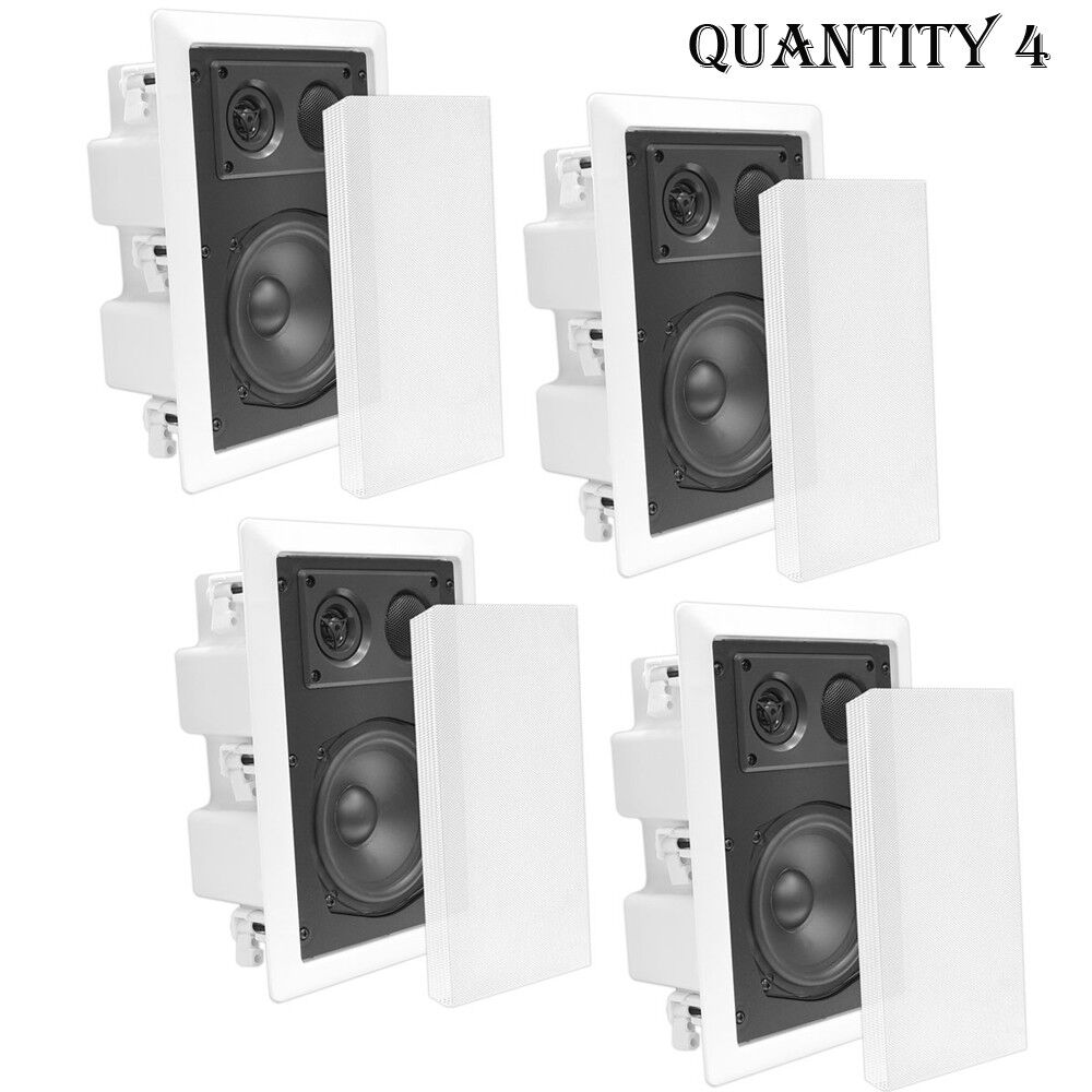 In-Wall   In-Ceiling Dual 6.5  Enclosed Speaker 2-Way Flush Mount White (2 Pair)