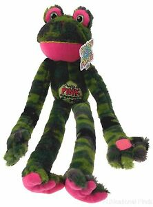 Peace-Love-Frog-Pretty-In-Pink-Dangerous-In-Camo-Hanging-Plush-Embroidered-NEW