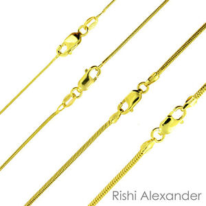 14K-Gold-over-925-Sterling-Silver-Snake-Chain-Necklace-All-Sizes