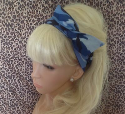 BLUE CAMOUFLAGE CAMO COTTON BENDY WIRE HAIR WRAP WIRED HEADBAND MARINE GIRL ARMY