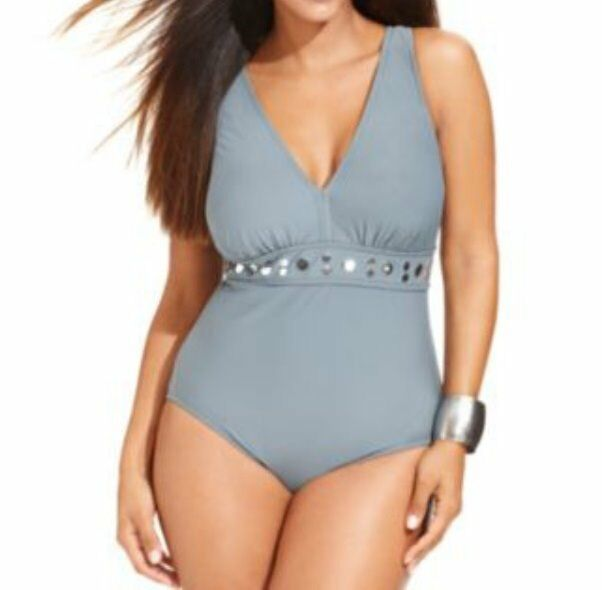 99d5ac52d1a INC International Concepts Swimsuit Sz 18W Grey Studded One Piece Swim  470603W
